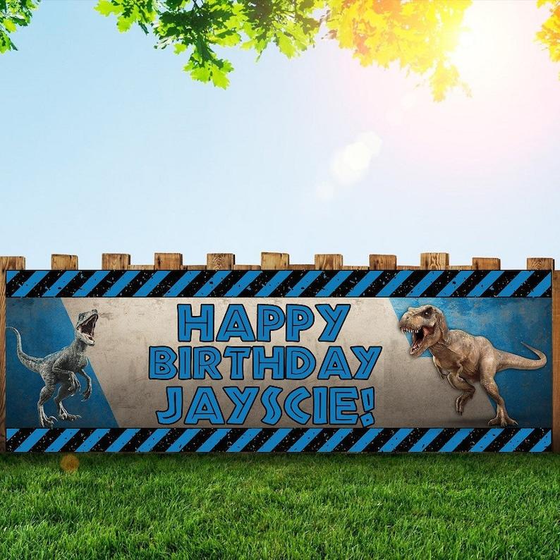 Jurrasic world Birthday Party Banner Personalized/Custom image 0