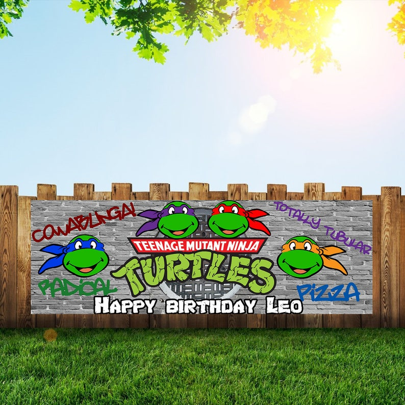 ninja turtle Birthday Party Banner Personalized/Custom image 0