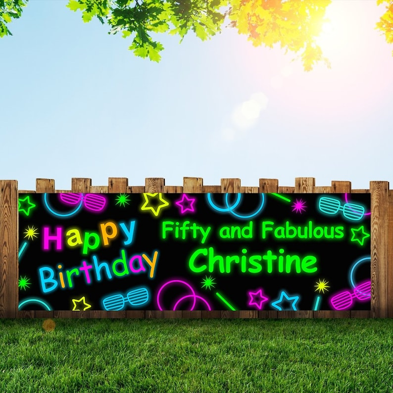 Glow neon Birthday Party Banner Personalized/Custom Decoration image 0