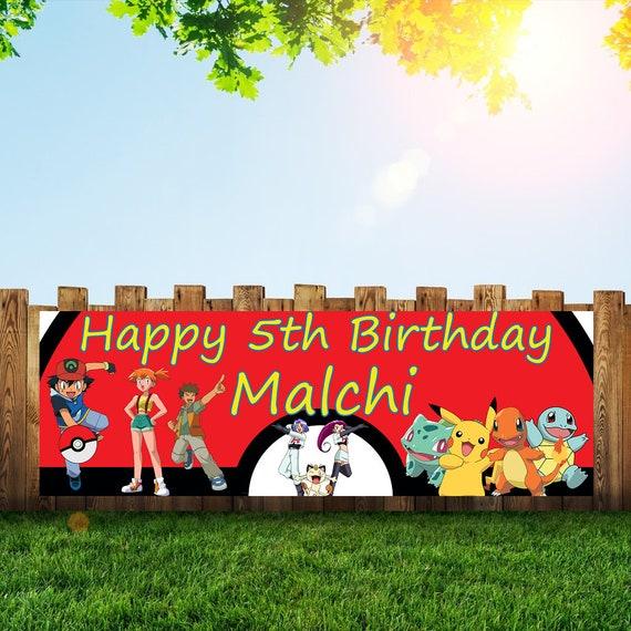 Pokemon Personalized 6x2 Vinyl Birthday Banner Free