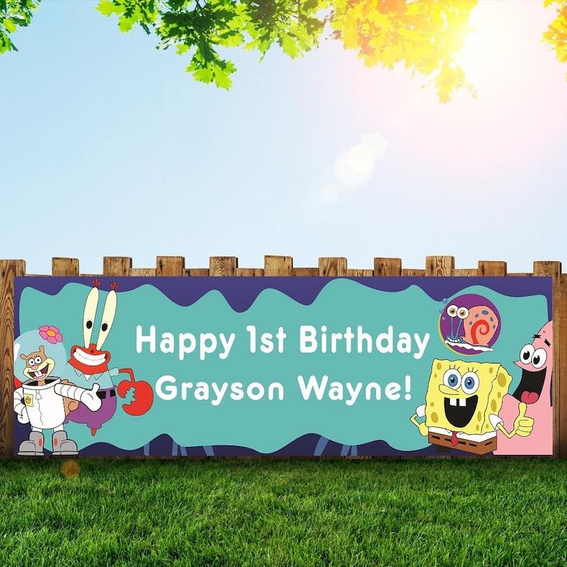 Spongebob Birthday Party Banner Personalized/Custom Decoration image 0
