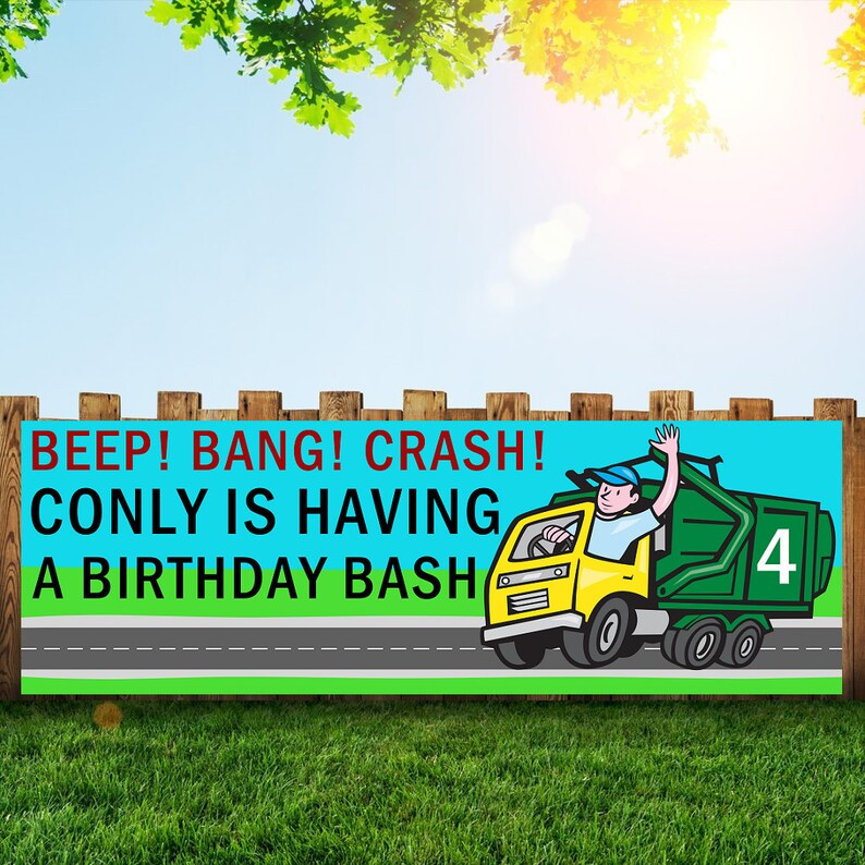 Garbage truck Birthday Party Banner Personalized/Custom image 0