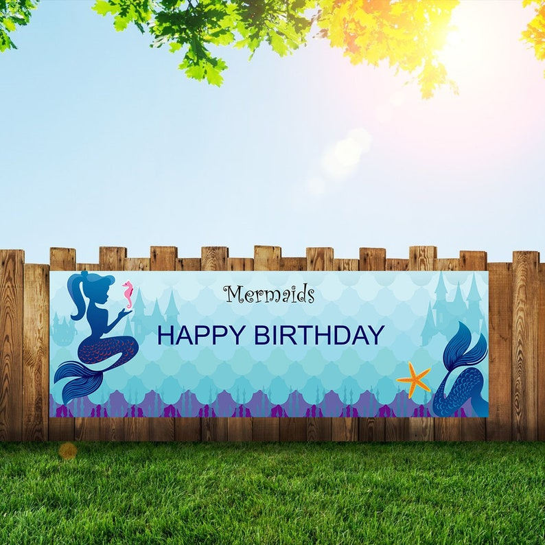 Mermaid Birthday Party Banner Personalized/Custom Decoration image 0