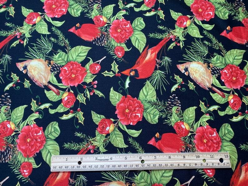 Wilmington Prints Sold in 12 Yard Increments Christmas in the Wildwood Cardinal Flowers