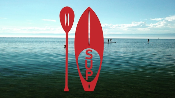 "PADDLE BOARD Vinyl Decal Sticker 8/"" x 4/"" SUP Stand Up Paddling Ocean Waves"