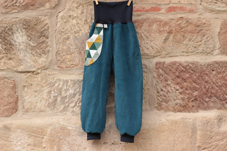 Feincord Pump Pants Petrol 74-164 Desired Size with Bag for Kids Boys /& Girls