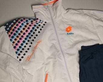 huge selection of 4e475 047c5 Lotto Vintage Tracksuit, Nylon Full Zip Unisex M, White, neon Thomas  Pattern Original 1995 Tennis