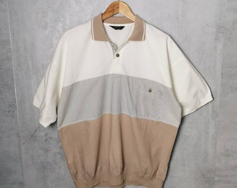 St Michael Vintage 90s Polo Shirt ML Blue Red Green White Striped Bag Polo Shirt