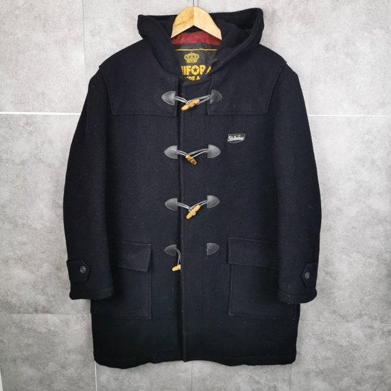 5th Avenue Vintage Duffel Wool Coat with Hood Blac