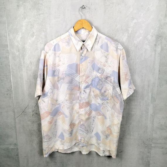 90s Southwestern Shirt Mens M Vintage Pastel Aztec Print  Short Sleeve Shirt Patterned Overshirt Button Down Boyfriend Pastel Shirt Womens L