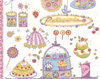 decoupage napkins vintage style Serviette 33x33cm 13x13inches paper 3-ply craft Scrapbooking candy sweets cupcakes lolipops