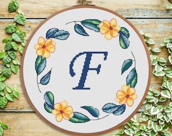F- Summer Dreams Monogram- cross stitch Monogram - modern Cross stitch Letter -  Nursery decor - wedding cross stitch - Baby shower gift
