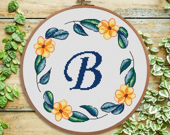 B - modern Cross stitch Letter cross stitch Monogram - Personal gift - Nursery decor - Initial - wedding cross stitch - Baby shower gift