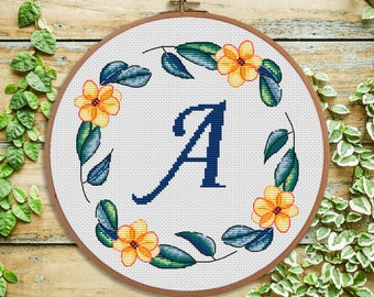A - cross stitch Monogram - modern Cross stitch Letter - Personal gift - Nursery decor - Initial - wedding cross stitch - Baby shower gift