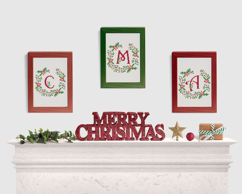 botanical design baby announcement Personalized monogram J Cross stitch pattern Christmas flower wreath alphabet personalized