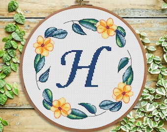 H - Flowers cross stitch Monogram - modern Cross stitch Letter - Nursery decor - Initial - wedding cross stitch - Baby shower gift
