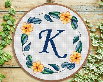 K - flowers cross stitch monogram - modern cross stitch letter - personal gift, nursery decor, initial, wedding cross stitch