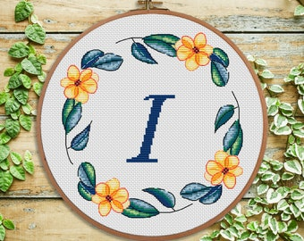 I - cross stitch monogram - modern cross stitch - personal gift, nursery decor, initial, wedding cross stitch, baby shower gift