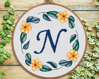 N - cross stitch monogram - modern cross stitch - nursery decor - Initial - wedding cross stitch - baby shower gift - personal gift