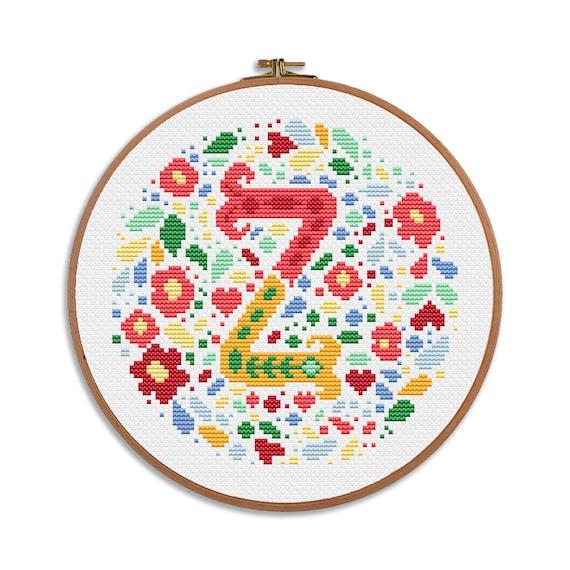 modern easy letter J Green Wreath simple cross stitch wedding birthday personal gift nursery decor initial baby shower lettering