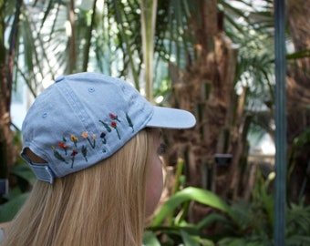 Blue Embroidered Hat