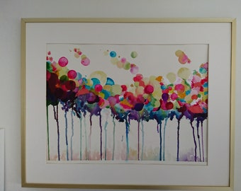 Watercolour abstract bubbles A4 print
