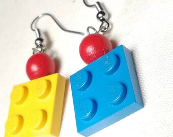 Pendant earrings with brick and bead