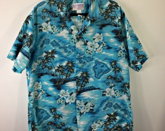 6a2b5fc0 VTG Ky's International Hawaiian Camp Shirt Size XL * Islands White Orchids  Vacation