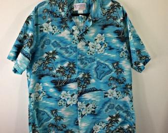 0e5a03d3 VTG Ky's International Hawaiian Camp Shirt Size XL * Islands White Orchids  Vacation