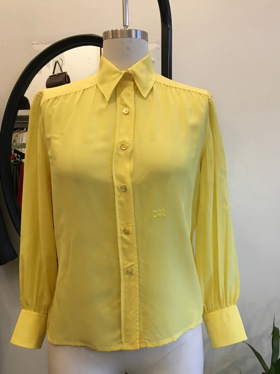 Celine Yellow Silk Button-Up Long Sleeve Blouse