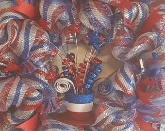Sparkling Patriotic Wreath. Extra Large Wreath 29inch