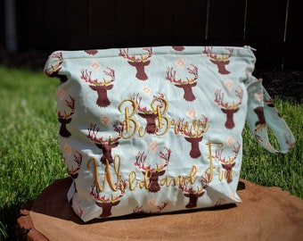 Boho Deer wet bag| cloth diaper bag| cloth pad wet bag| swimsuit wet bag|