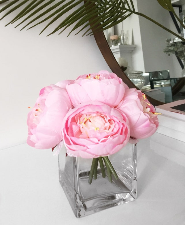 Peony arrangement silk peonies flower arrangement silk etsy image 0 mightylinksfo