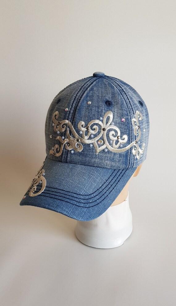 Women s baseball cap Pearl rhinestone hat Sparkly womens  2b5c57d6f67b