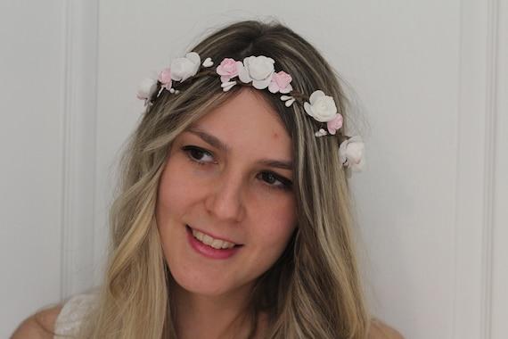 Boda pelo joyas flexible novia joyas diadema flor rosa cristal clara