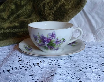 Vintage Japan Teacup and Saucer with Purple Flowers