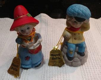 Merri-Bells by Jasco, Drummer Girl and Boy with Crutch Vintage