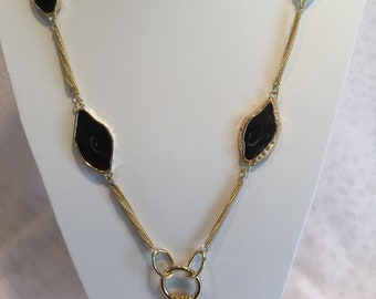 Black Chunky on a Goldtone Chain