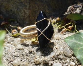 Black Tourmaline Gold Ring