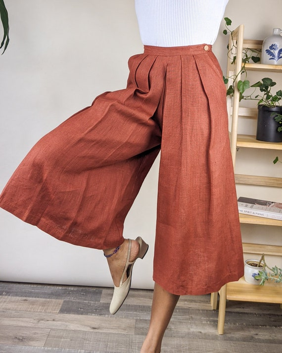 80s 25W Linen Pleated Culottes