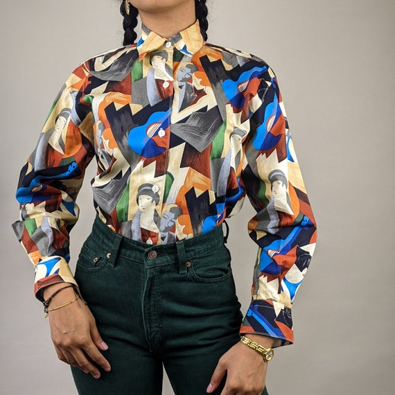 80s Abstract Cubism Print Cotton Button Up Blouse