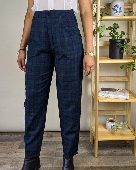 80s 27W Hang Ten Deadstock Plaid Pleated Trousers