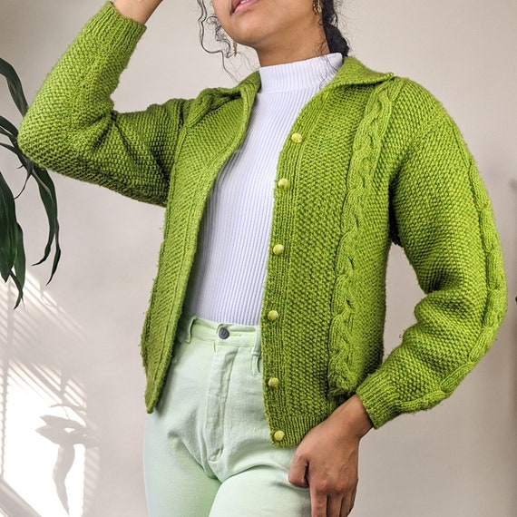 Vintage Cable Knit Cardigan Sweater Green