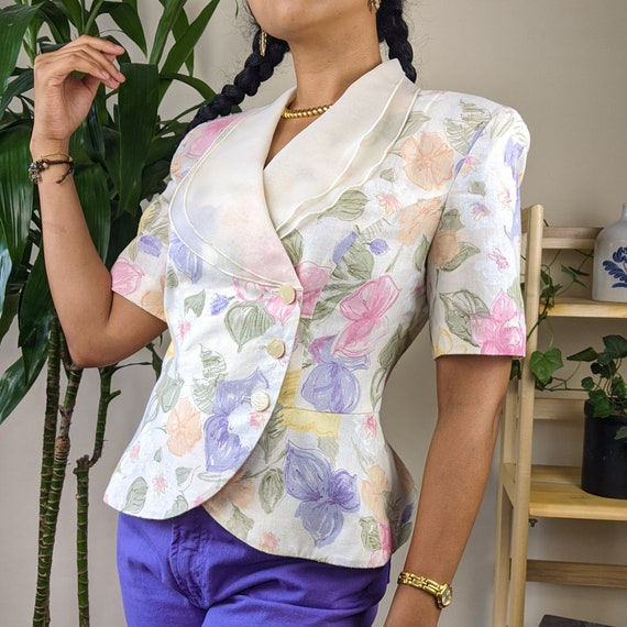 80s Floral Wrap Blouse with Sheer Collar Pastel Co
