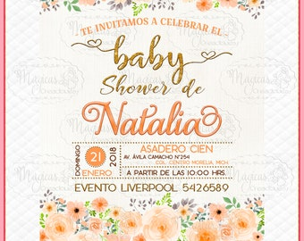 Personalized Digital invitation Baby Shower Peach Flowers Girls