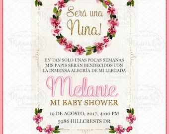 Personalized Digital invitation Baby Shower pink flowers Girls