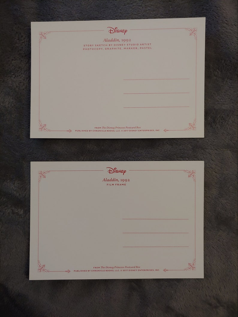 Aladdin Postcards from the Disney Princess Postcard Collection Lot of 2 New and Unused