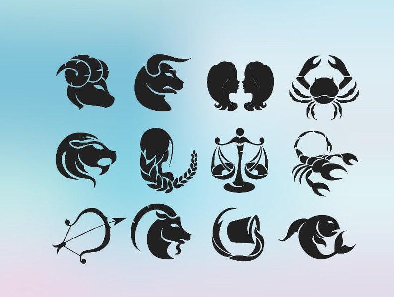 2818f88d26c0a Horoscope SVG Silhouette Astrology Cricut Zodiac Signs Svg | Etsy