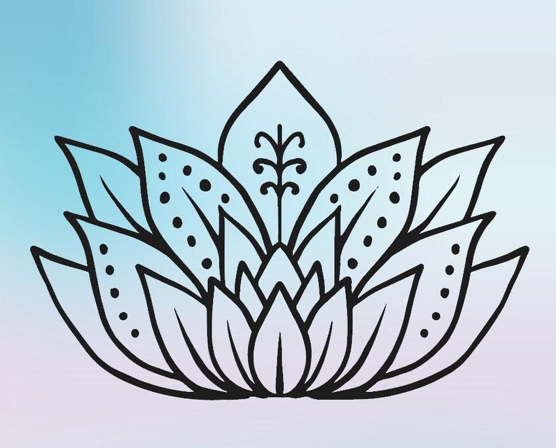 Lotus Flower Silhouette Svg Digital Download Lotus Flower Etsy