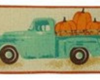 Natural 2.5 Green Vintage Farm Truck with Pumpkins Fall Autumn Wired Ribbon Natural Expressions Brand Wired Edge Vintage Truck Ribbon RG0183618